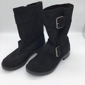 Aldo Suede black leather moto boot size 37 US 7